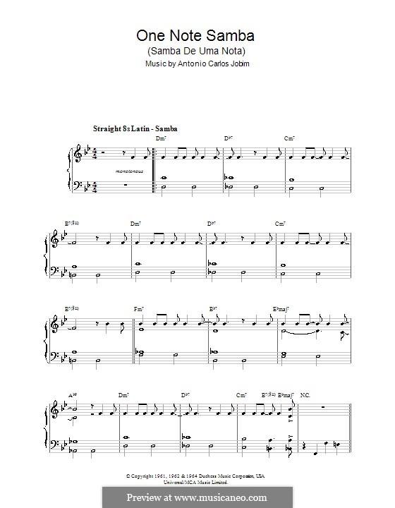 One Note Samba (Samba De Uma Nota): Для фортепиано (легкий уровень) by Antonio Carlos Jobim