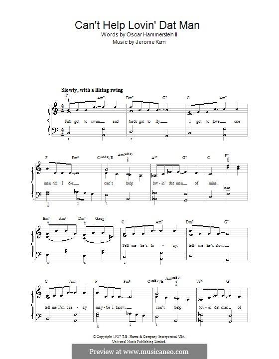 Can't Help Lovin' Dat Man (from Show Boat): Для фортепиано (легкий уровень) by Джером Керн