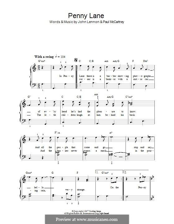 Penny Lane (The Beatles): Для фортепиано (легкий уровень) by John Lennon, Paul McCartney