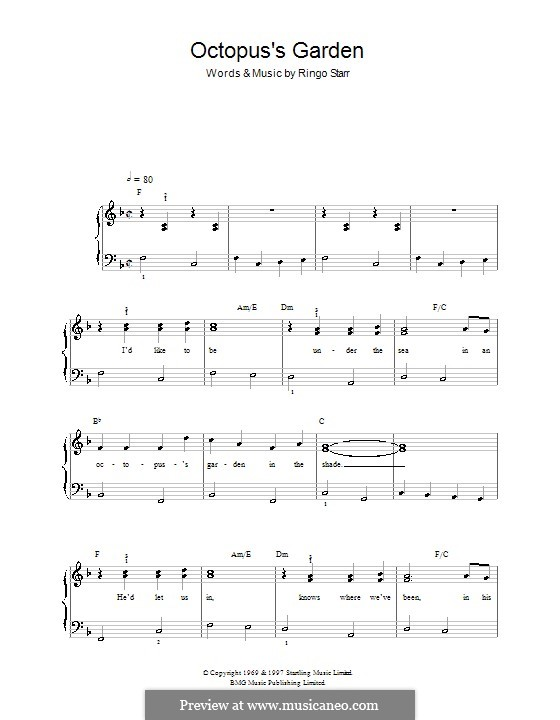 Octopus's Garden (The Beatles): Для фортепиано (легкий уровень) by Ringo Starr