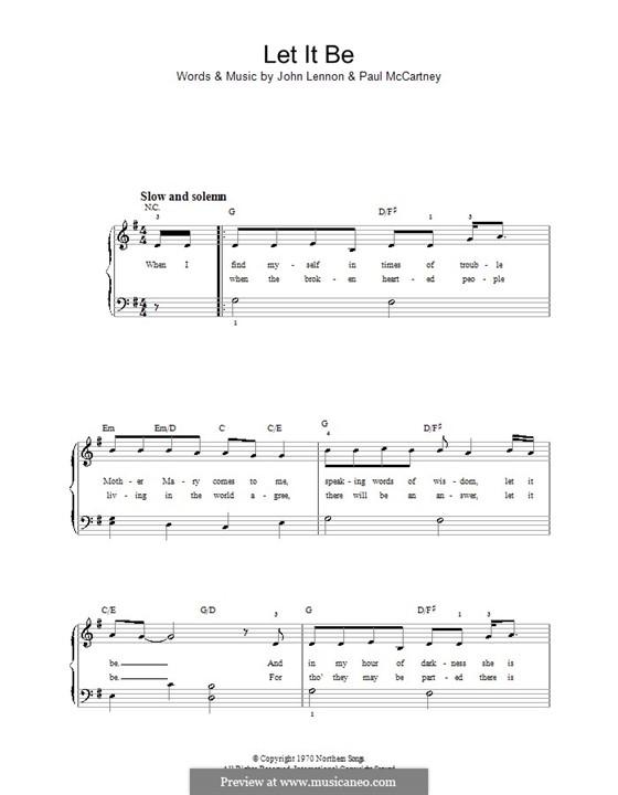 Let it Be, for Piano: Для фортепиано (легкий уровень, соль мажор) by John Lennon, Paul McCartney