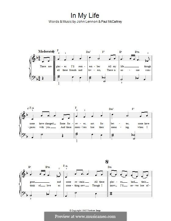 In My Life (The Beatles): Для фортепиано (легкий уровень) by John Lennon, Paul McCartney