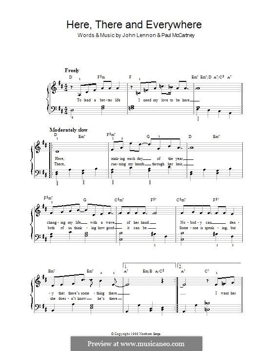 Here, There and Everywhere (The Beatles): Для фортепиано (легкий уровень, с аккордами) by John Lennon, Paul McCartney