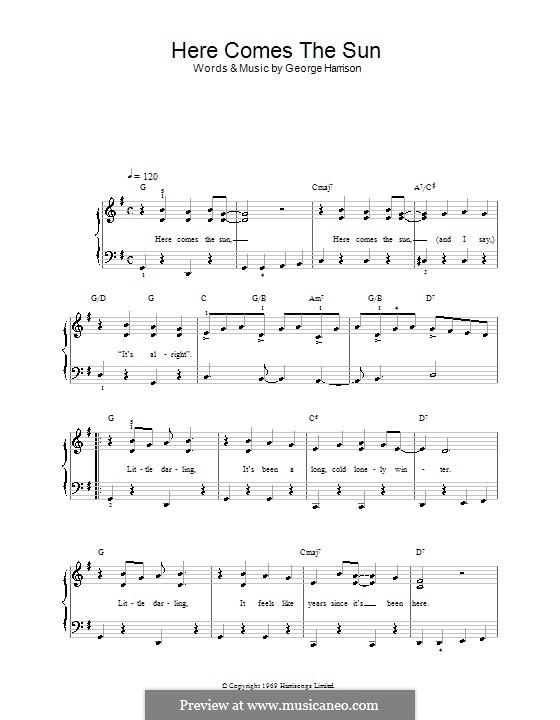 Here Comes the Sun (The Beatles): Для фортепиано (легкий уровень) by George Harrison