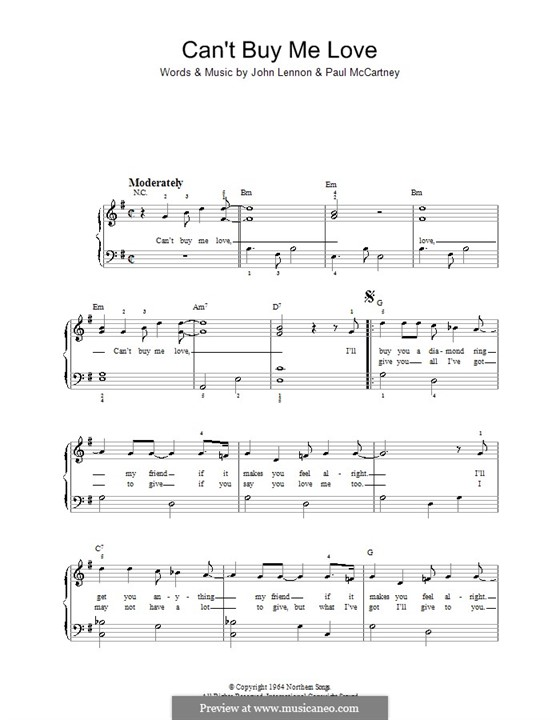 Can't Buy Me Love (The Beatles): Для фортепиано (легкий уровень) by John Lennon, Paul McCartney