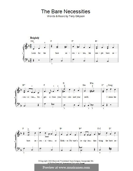 The Bare Necessities (from Disney's The Jungle Book): Для фортепиано (легкий уровень, с аккордами) by Terry Gilkyson