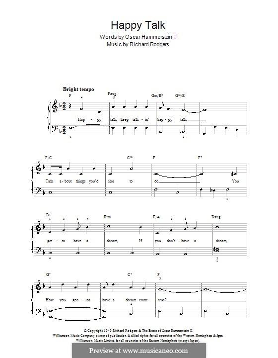 Happy Talk (from South Pacific): Для фортепиано (легкий уровень) by Richard Rodgers