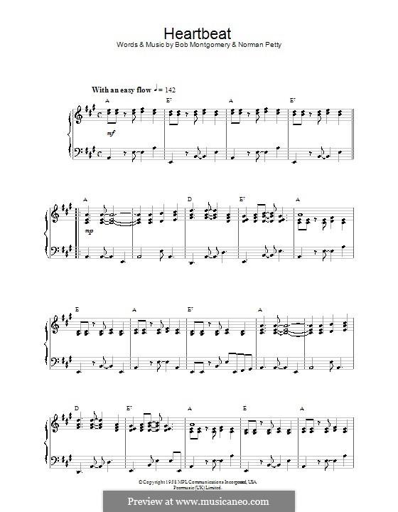 Heartbeat (Buddy Holly): Для фортепиано by Bob Montgomery, Norman Petty