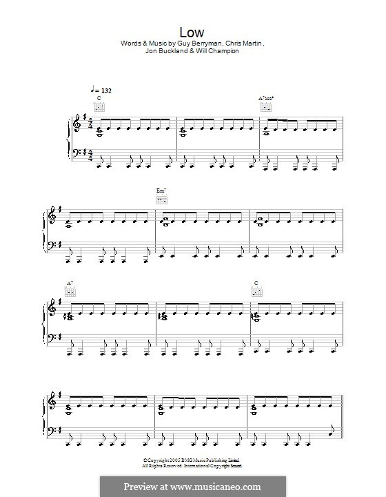 Low (Coldplay): Для голоса и фортепиано (или гитары) by Chris Martin, Guy Berryman, Jonny Buckland, Will Champion