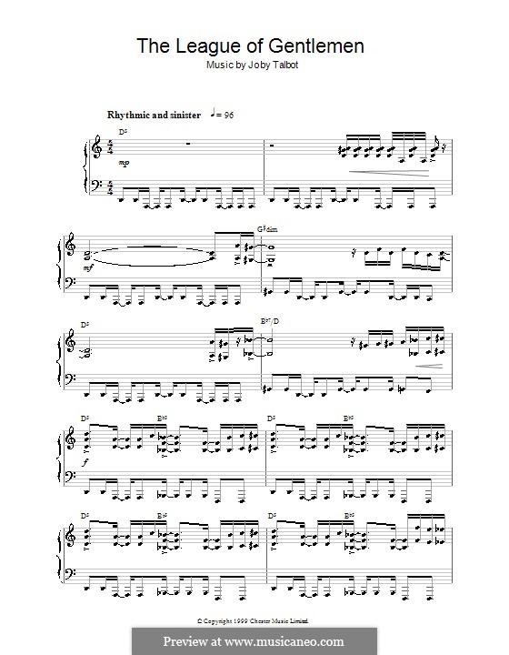 The League of Gentlemen: Для фортепиано by Joby Talbot