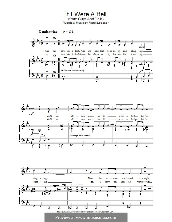 If I Were a Bell: Для голоса и фортепиано или гитары by Frank Loesser