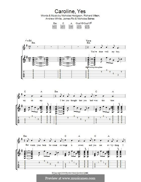 Caroline, Yes (Kaiser Chiefs): Для гитары с табулатурой by Andrew White, James Rix, Nicholas Baines, Nicholas Hodgson, Charles Wilson