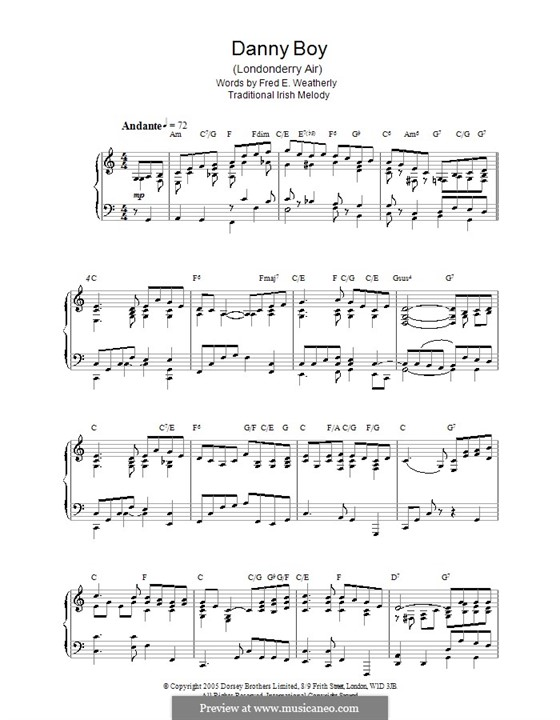 Danny Boy (Londonderry Air) Printable Scores: Для фортепиано by folklore