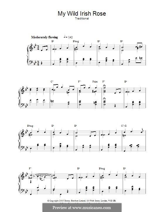 My Wild Irish Rose: Для фортепиано by Chauncey Olcott
