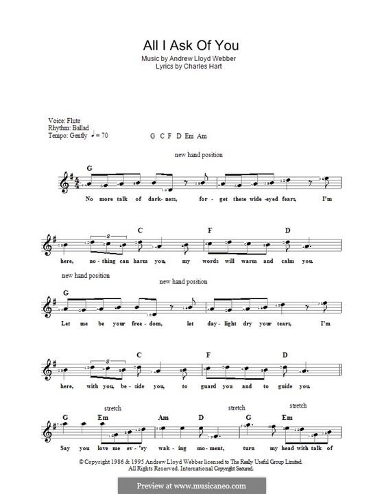 All I Ask of You: Для клавишного инструмента by Andrew Lloyd Webber