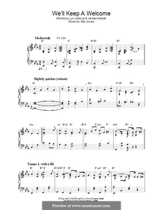 We'll Keep a Welcome (Harry Secombe): Для фортепиано by Mai Jones