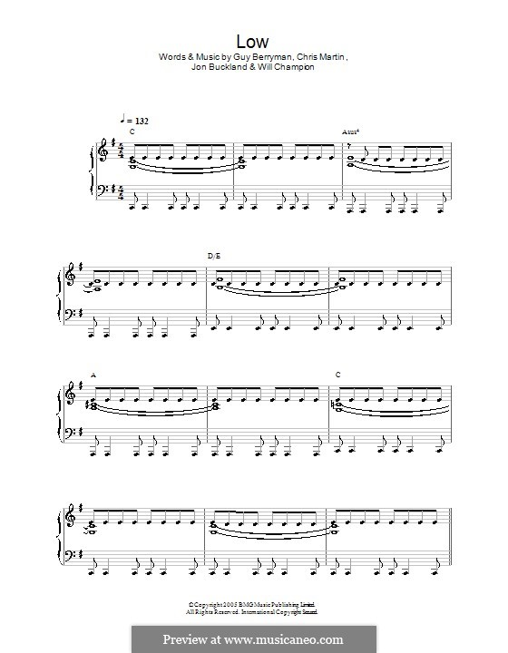 Low (Coldplay): Для фортепиано (легкий уровень) by Chris Martin, Guy Berryman, Jonny Buckland, Will Champion