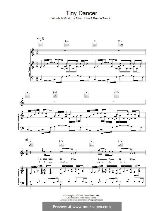Tiny Dancer: Для голоса и фортепиано (или гитары) by Elton John
