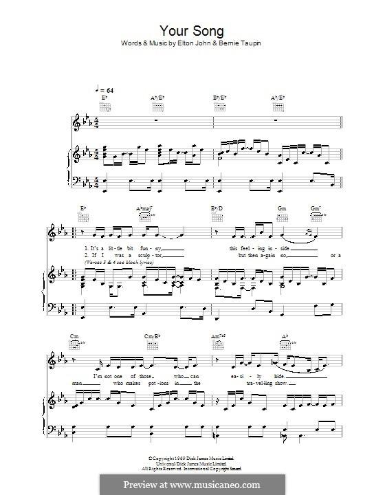 Your Song: Для голоса и фортепиано (или гитары) by Elton John