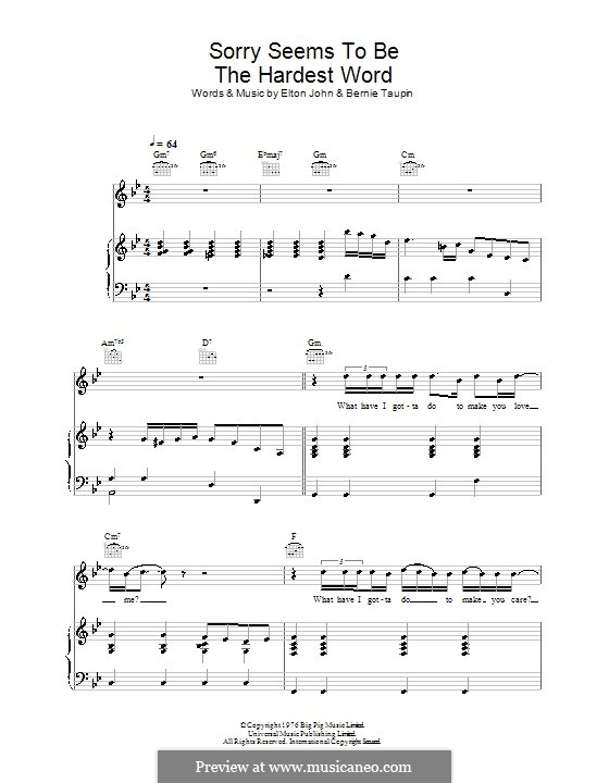 Sorry Seems to be the Hardest Word: Для голоса и фортепиано (или гитары) by Elton John