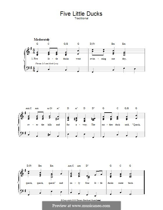 Five Little Ducks: Для голоса и фортепиано by folklore