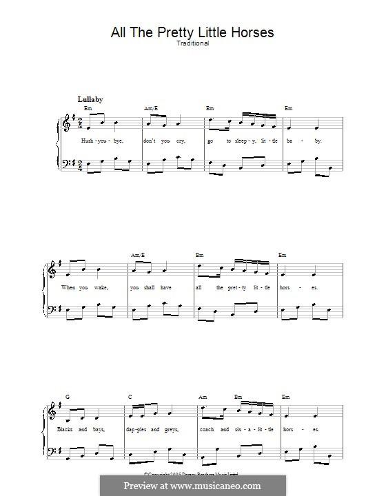 All the Pretty Little Horses: Клавир с вокальной партией by folklore