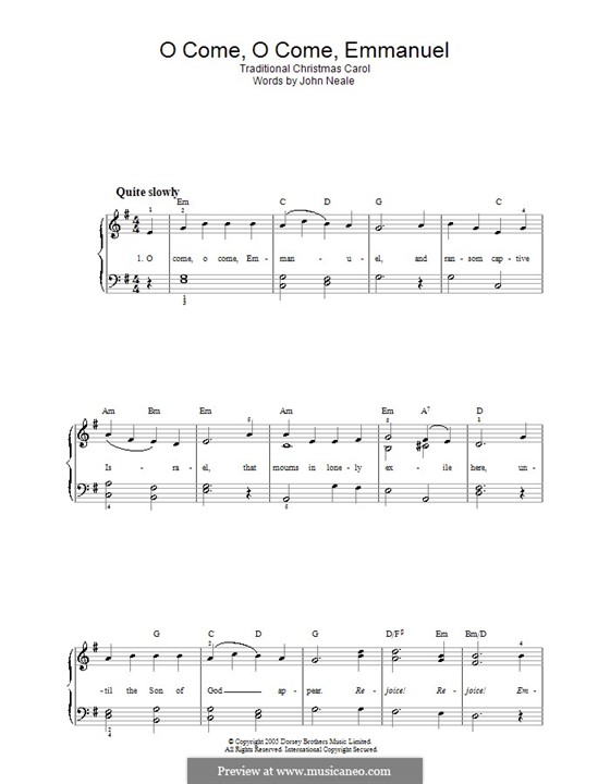 O Come, O Come, Emmanuel, for Piano: For easy version (with chords) by folklore