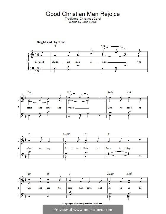 Good Christian Men, Rejoice: Для фортепиано (легкий уровень) by folklore