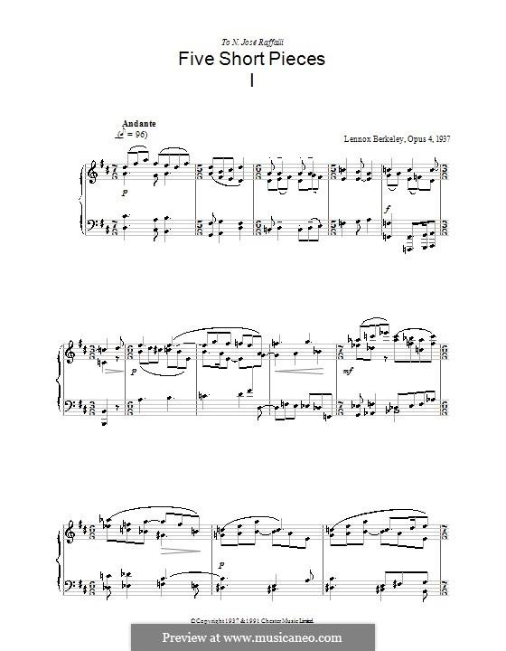 Пять коротких пьес, Op.4: Пьеса No.1 by Lennox Berkeley