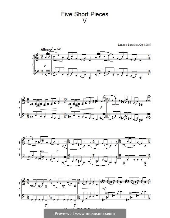 Пять коротких пьес, Op.4: Пьеса No.5 by Lennox Berkeley