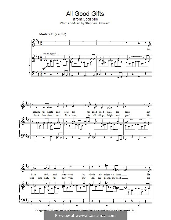 All Good Gifts (from Godspell): Для голоса и фортепиано by Stephen Schwartz