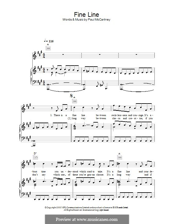 Fine Line: Для голоса и фортепиано (или гитары) by Paul McCartney