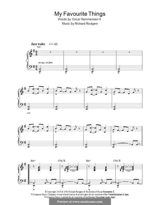 My Favorite Things (from The Sound of Music), for Piano: Для одного исполнителя (ноты высокого качества) by Richard Rodgers