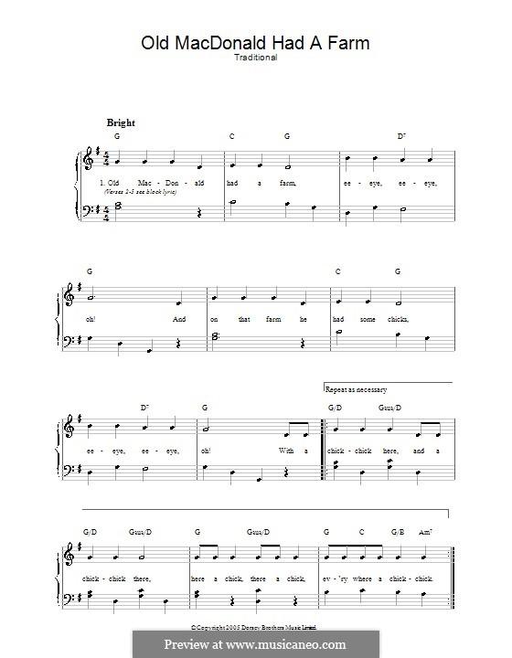 Old MacDonald Had a Farm: Для голоса и фортепиано (или гитары) by folklore