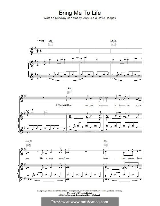 Bring Me to Life (Evanescence): Для голоса и фортепиано (или гитары) by Amy Lee, Ben Moody, David Hodges