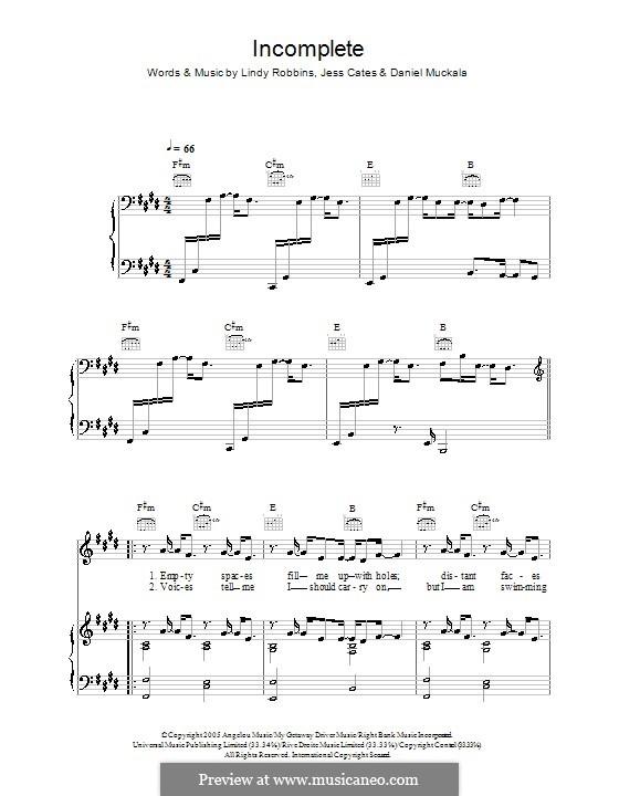 Incomplete (Backstreet Boys): Для голоса и фортепиано (или гитары) by Dan Muckala, Jess Cates, Lindy Robbins