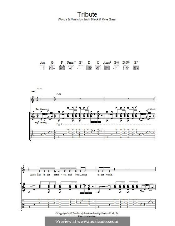 Tribute (Tenacious D): Гитарная табулатура by Jack Black, Kyle Gass
