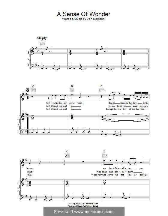 A Sense of Wonder: Для голоса и фортепиано (или гитары) by Van Morrison