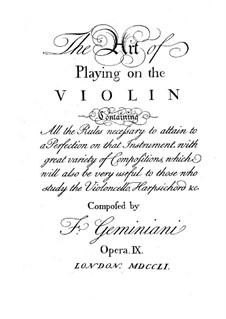 Искусство игры на скрипке, Op.9: Искусство игры на скрипке by Франческо Джеминиани