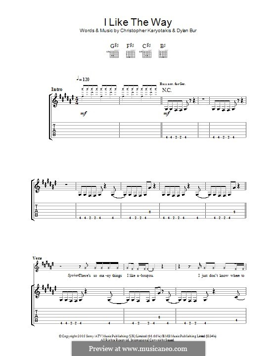 I Like the Way (The Bodyrockers): Гитарная табулатура by Christopher Karyotakis, Dylan Burns