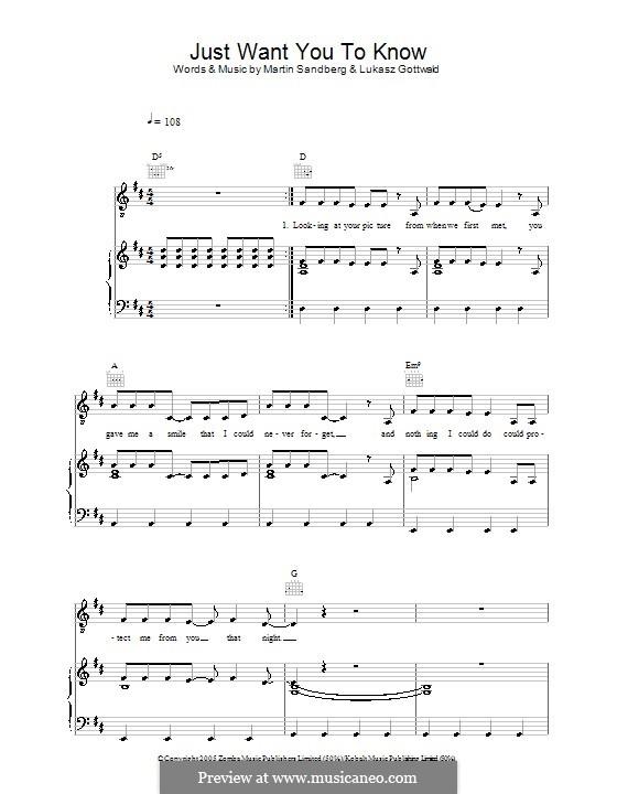 Just Want You to Know (Backstreet Boys): Для голоса и фортепиано (или гитары) by Lukas Gottwald, Max Martin