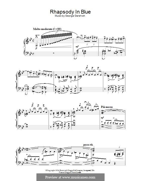 Рапсодия в стиле блюз: Для фортепиано (ноты высокого качества) by Джордж Гершвин