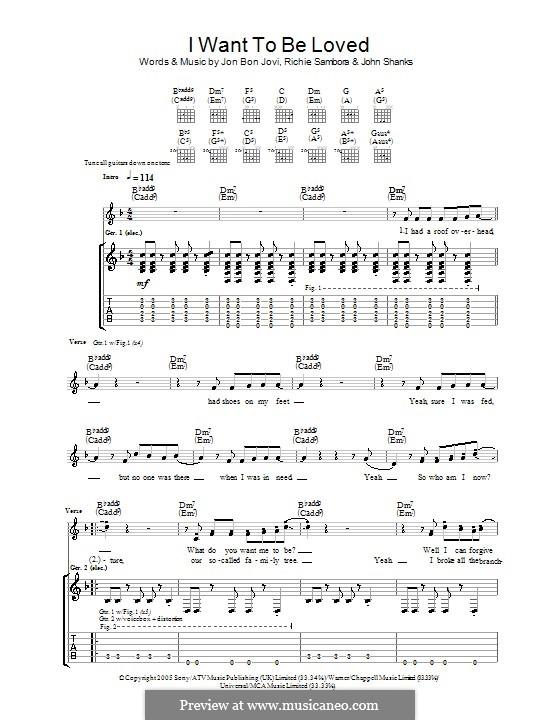 I Want To Be Loved (Bon Jovi): Гитарная табулатура by John M Shanks, Jon Bon Jovi, Richie Sambora