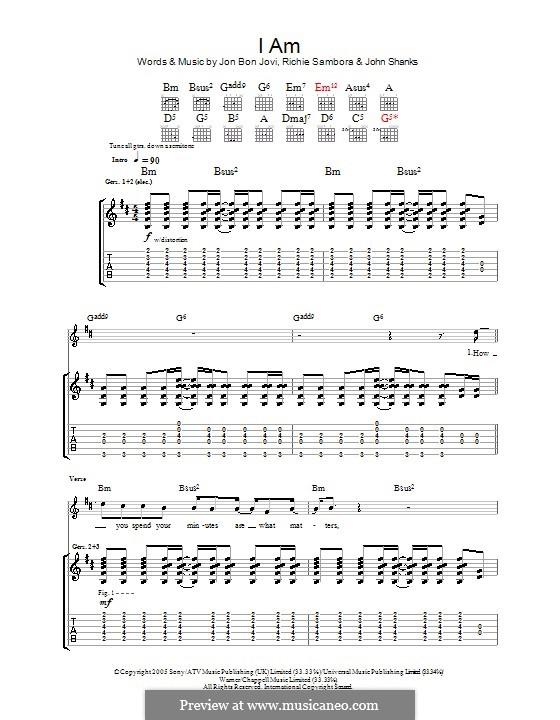 I am (Bon Jovi): Гитарная табулатура by John M Shanks, Jon Bon Jovi, Richie Sambora