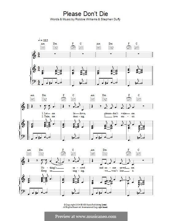 Please Don't Die: Для голоса и фортепиано (или гитары) by Stephen Duffy