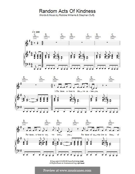 Random Acts of Kindness: Для голоса и фортепиано (или гитары) by Stephen Duffy