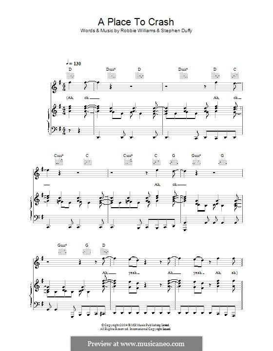 A Place to Crash: Для голоса и фортепиано (или гитары) by Stephen Duffy