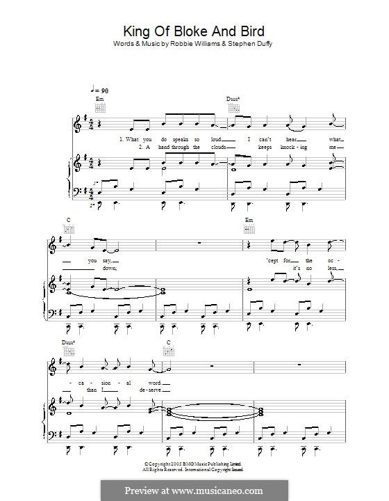 King of Bloke and Bird: Для голоса и фортепиано (или гитары) by Stephen Duffy