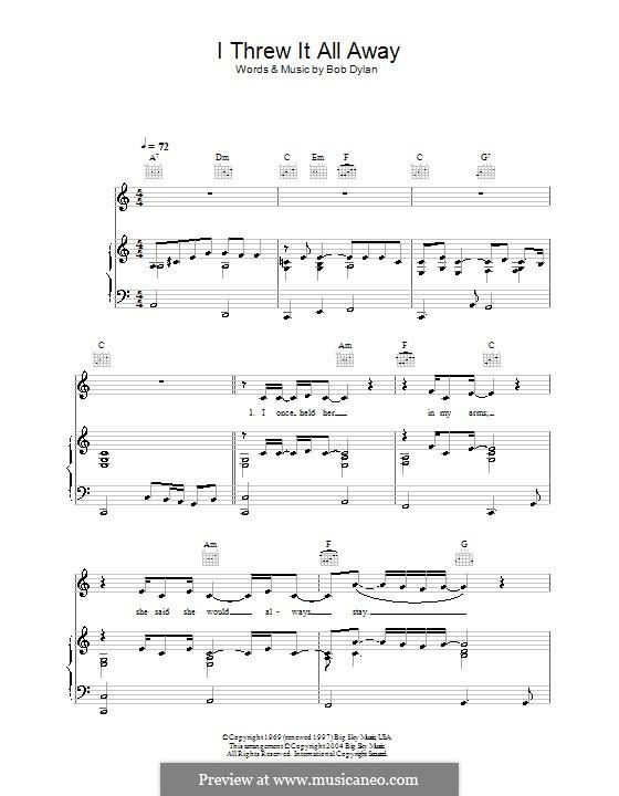 I Threw It All Away: Для голоса и фортепиано (или гитары) by Bob Dylan