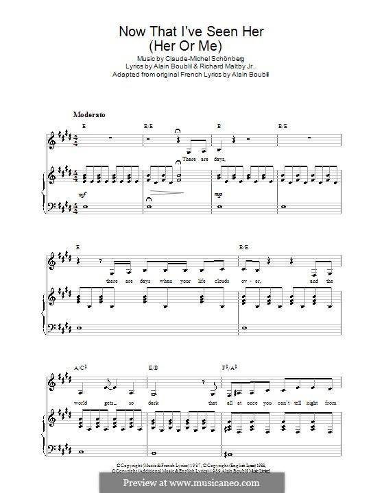 Now That I've Seen Her: Для голоса и фортепиано (или гитары) by Claude-Michel Schönberg